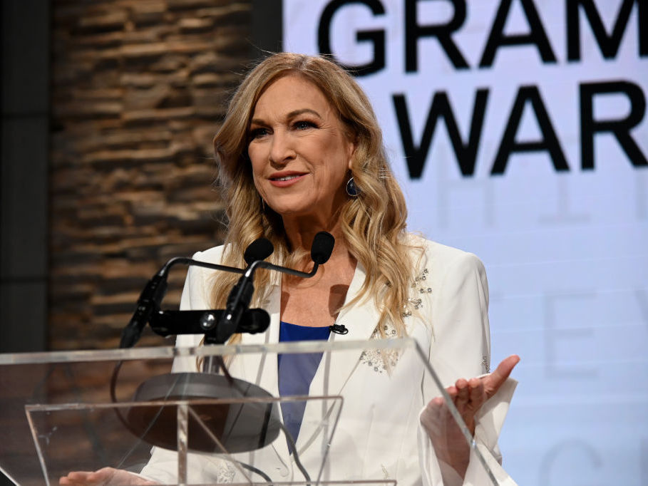 The now-former Recording Academy president and CEO, Deborah Dugan, speaking in Nov. at the Grammy nomination press conference in New York City.