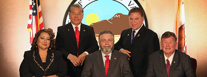 Authorities have seized computers and files from the Riverside County homes of the City of Moreno Valley mayor and council members. From left to right: Moreno Valley city council members Victoria Baca, Marcelo Co, Mayor Tom Owings, and Moreno Valley city council members Jesse L. Molina and Richard A. Stewart.