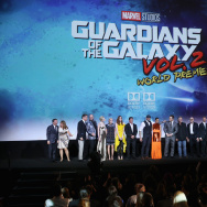 "(L-R) Executive producers Louis D'Esposito, Victoria Alonso, actors David Hasselhoff, Chris Sullivan, Elizabeth Debicki, Pom Klementieff, Karen Gillan, Sylvester Stallone, Dave Bautista, Zoe Saldana, Chris Pratt, Kurt Russell, Michael Rooker, Sean Gunn, Tommy Flanagan, Vin Diesel, director James Gunn and Producer and President of Marvel Studios Kevin Feige at The World Premiere of Marvel Studios' ""Guardians of the Galaxy Vol. 2."" at Dolby Theatre in Hollywood, CA April 19th, 2017."
