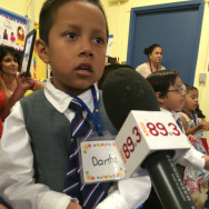 4 year-old Dante, preschool student in the Family Literacy program at Shenandoah Elementary school, doesn't want his program to close. Will preschool expansion grants announced August 13, 2014 by the Department of Education trickle down to LA Unified early education programs?