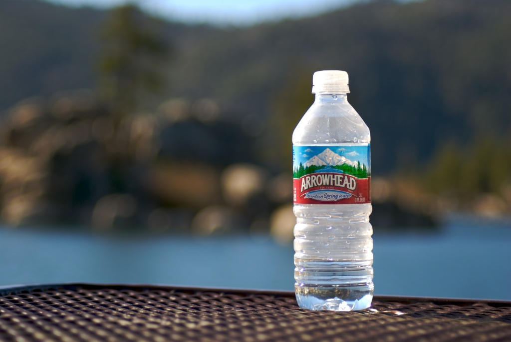 File: A plastic Arrowhead water bottle.