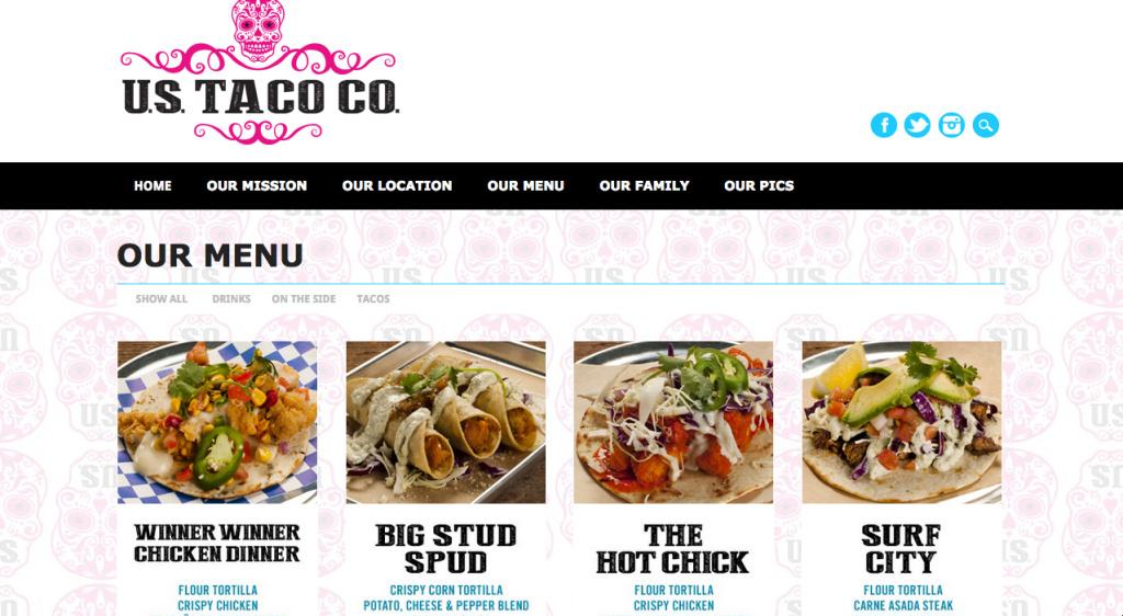 A screenshot of the U.S. Taco Co. website