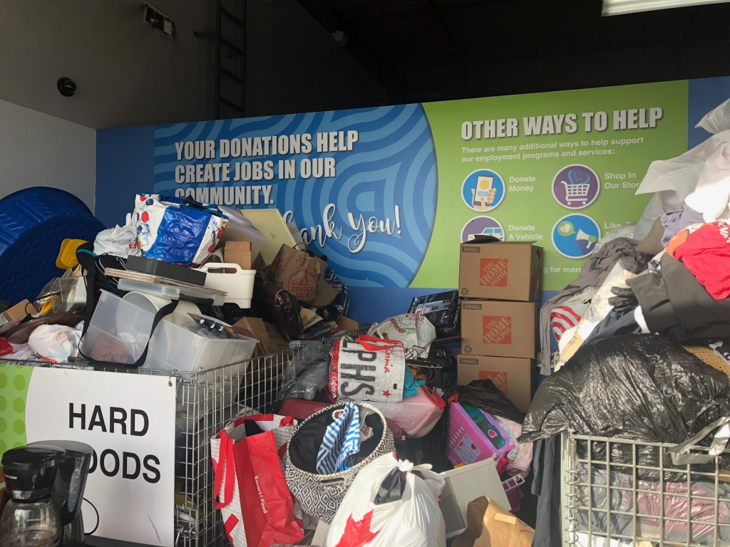 Donations fill up the entryway to a Goodwill Southern California Donation Center in Pasadena during the first week of 2020.