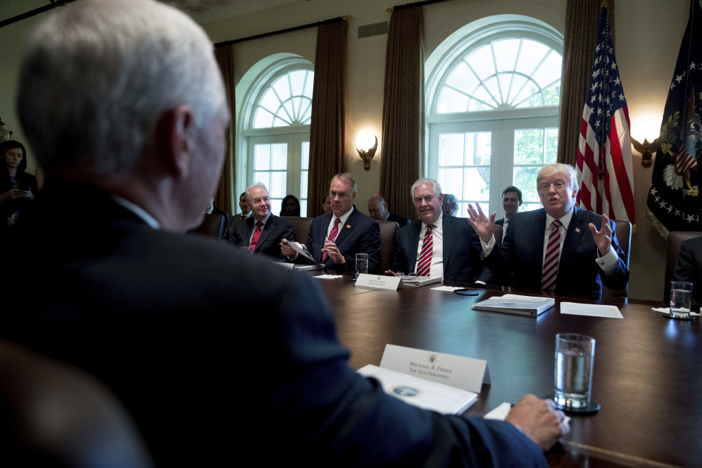 President Trump speaks during a Cabinet meeting on June 12, 2017. From left are, Vice President Pence, foreground, then-Health and Human Services Secretary Tom Price, Interior Secretary Ryan Zinke and Secretary of State Rex Tillerson and the president. Price was fired by Trump last year, Tillerson was fired last week.