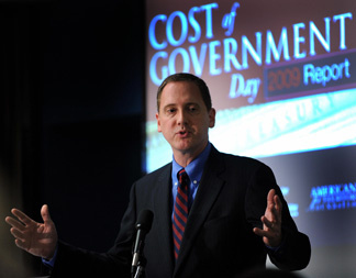 Chuck DeVore, a California state assemblyman makes remarks during a press conference sponsored by Americans for Tax Reform marking its annual Cost of Government Day, 'the date of the calendar year when the average American finishes paying off his or her share of federal, state and local taxes, and regulatory burden on August 12, 2009 at the National Press Club in Washington, DC.