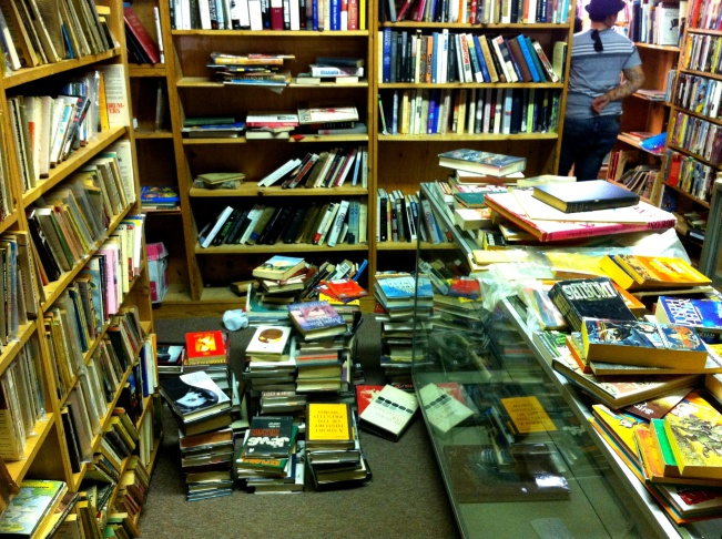 The stacks at Cliff's Books in Pasadena are pretty well picked over by Tuesday afternoon. Hardcovers were going for $1, paperbacks ten for a dollar.