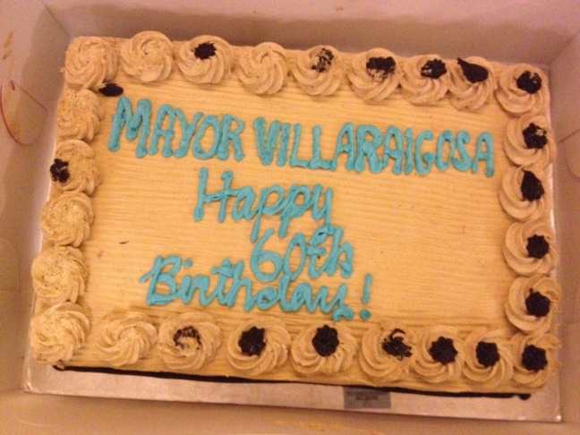 Los Angeles City Hall gadfly John Walsh with his cake for the mayor.