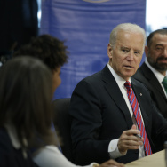 Vice President Joe Biden speaks at a roundtable discussion held at West Los Angeles College in Culver City, California.