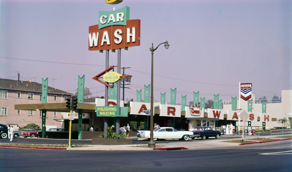 """Beverly Glen Car Wash, Los Angeles, CA, c.1965. Recent archival pigment print, 14 x 23"""". Edition of 15."""
