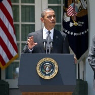 US President Barack Obama announces the