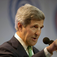 Secretary of State John Kerry delivers a speech at the U.N. Climate Change Conference in Lima, Peru, on Thursday. A major sticking point remains over how to divide greenhouse emissions targets.