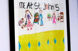 A child's picture showing them at St. John's.