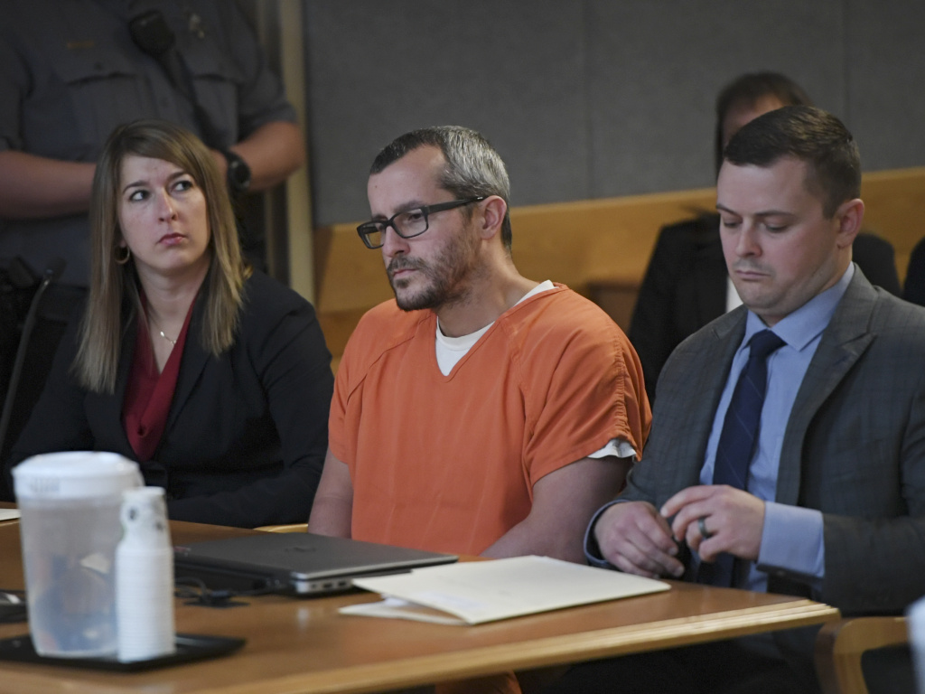 Christopher Watts sits in court for his sentencing hearing at the Weld County Court House on Monday in Greeley, Colo. Watts will spend the rest of his life in prison.