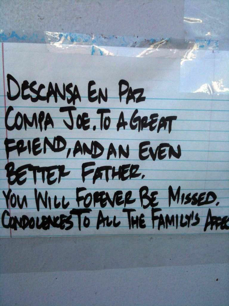 A note at the site of the Wednesday, Oct. 24, 2012 Downey shooting.