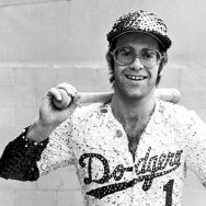 "Elton ""sporting"" a sequined Dodgers uniform before the first of two entirely sold-out Dodger Stadium shows in 1975."