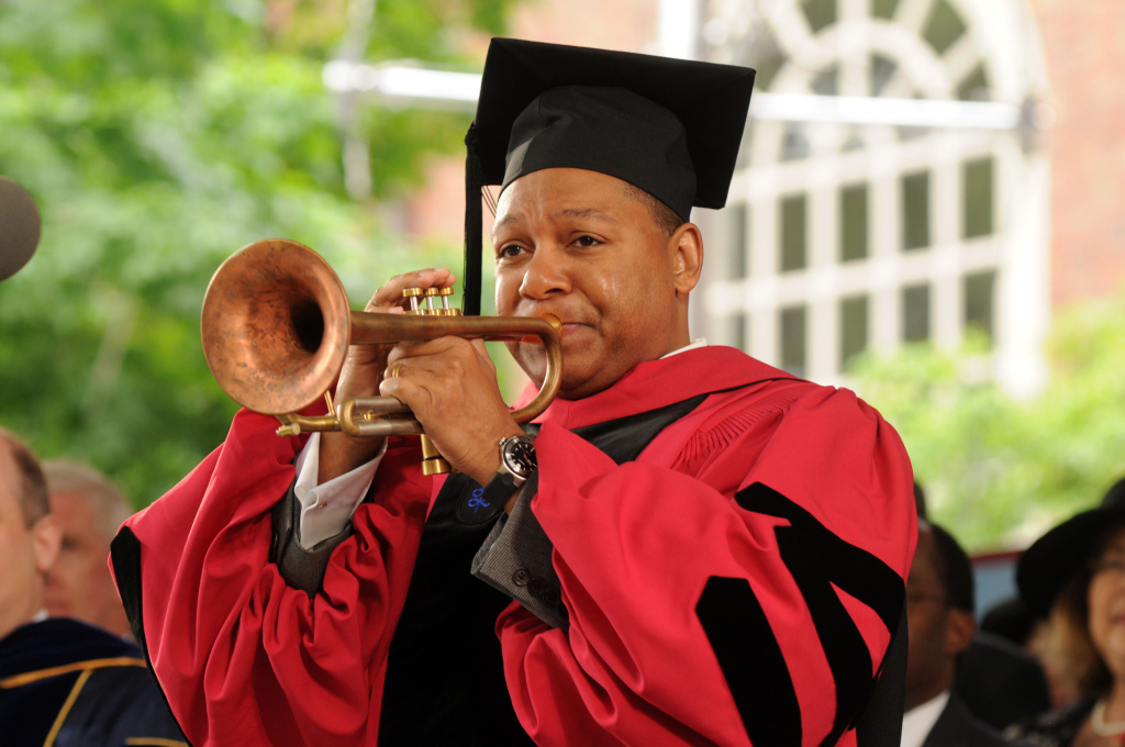 Musician Wynton Marsalis plays America The Beautiful during commencement ceremonies at Harvard University June 4, 2009 in Cambridge, Massachusetts. Marsalis partnered with Harvard President Drew Faust to write a December 2013 opinion piece for USA Today calling for increased arts education in U.S. schools.