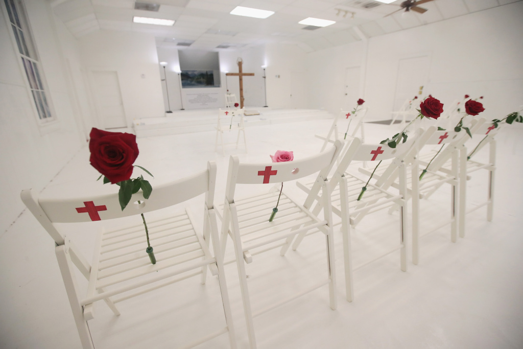 The First Baptist Church of Sutherland Springs, shown on Nov. 12, was turned into a memorial to honor those who died on Nov. 5. Devin Patrick Kelley shot and killed 26 people and wounded 20 others when he opened fire during Sunday service at the church in Sutherland Springs, Texas.
