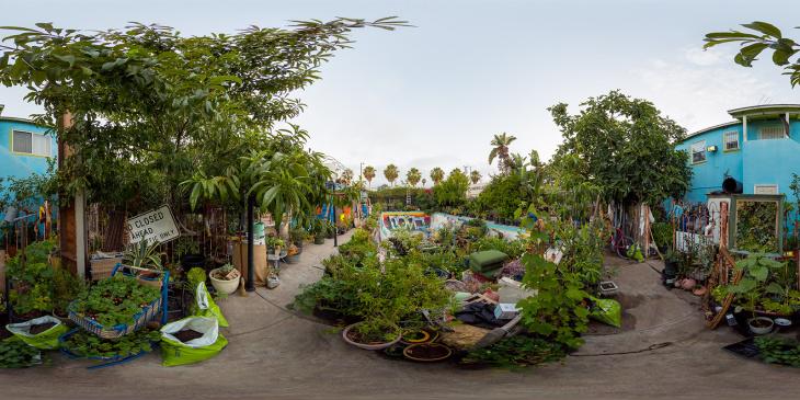 L.A.'s gardening guru shoes school children plants in his community garden.