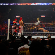 New Day Vs. Lucha Dragons Vs. Los Matadores fight at the WWE SummerSlam 2015 at Barclays Center of Brooklyn on August 23, 2015 in New York City