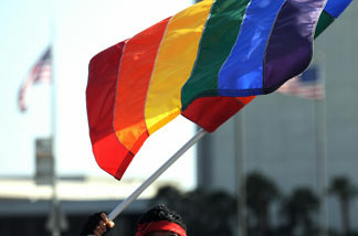 File photo: A UCLA student attends a protest rally in Westwood, California on May 26, 2009, following the California Supreme Court decision to uphold Proposition, 8 which outlawed gay marriage.
