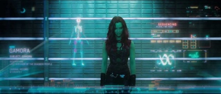 "Video of Zoe Saldana as Gamora in ""Guardians of the Galaxy."""