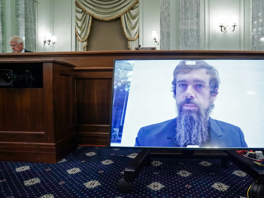 Twitter CEO Jack Dorsey testifies over video during a Senate Commerce Committee hearing on Wednesday about reforming Section 230, a key legal shield for tech companies.