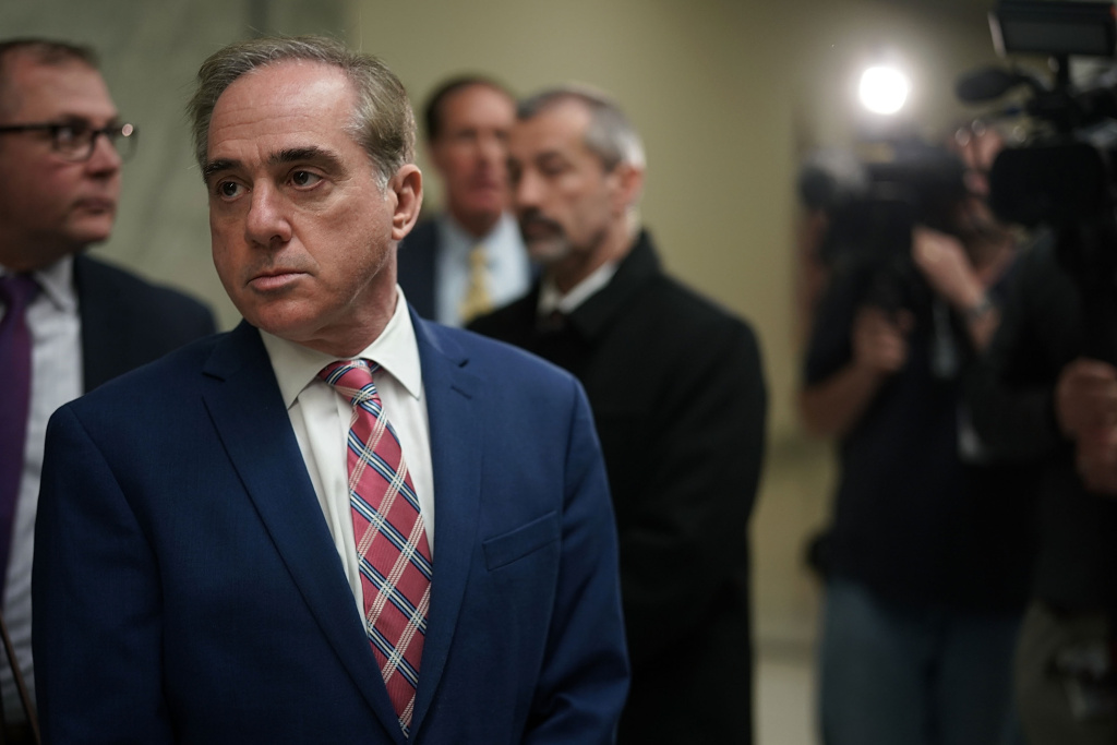 U.S. Secretary of Veterans Affairs David Shulkin leaves after a hearing before the Military Construction, Veterans Affairs, and Related Agencies Subcommittee of House Appropriations Committee March 15, 2018 on Capitol Hill in Washington, DC.