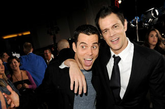 Actors Steve O (L) and Johnny Knoxville arrive at the premiere of Paramount Pictures and MTV Films' 'Jackass 3D' at the Chinese Theater on October 13, 2010 in Los Angeles, California.