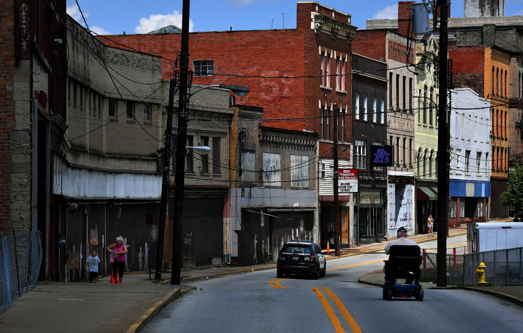 Many abandoned buildings and shuttered businesses in Brownsville, Pennsylvania, one of 26 states with an increasing mortality rate among whites.