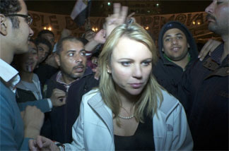 CBS News says this image of correspondent Lara Logan was taken in Tahrir Square shortly before she was assaulted.