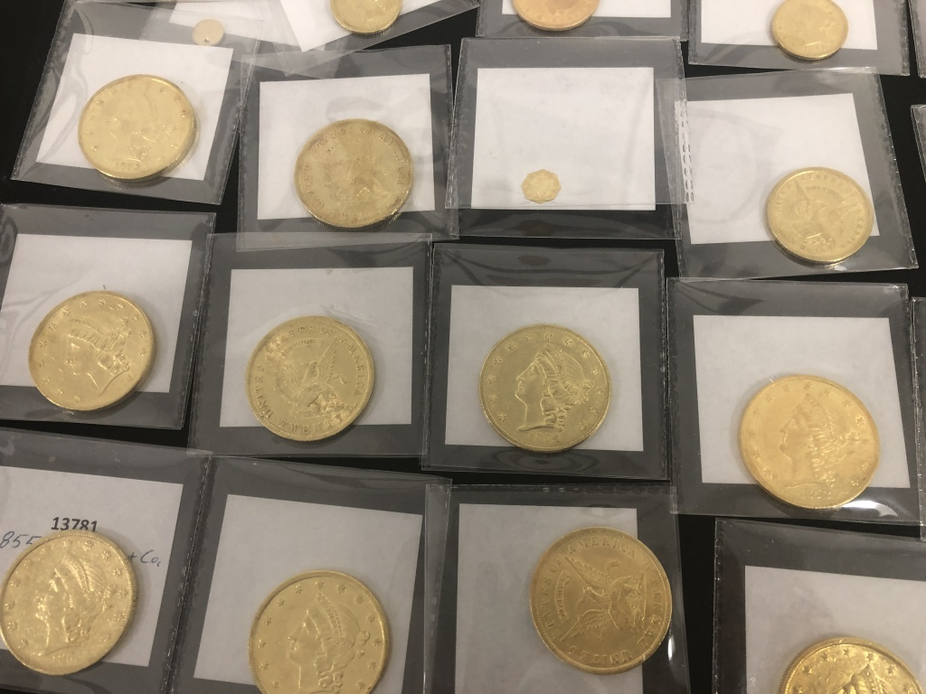 Double Eagle Coins and a small California Fractional Gold piece