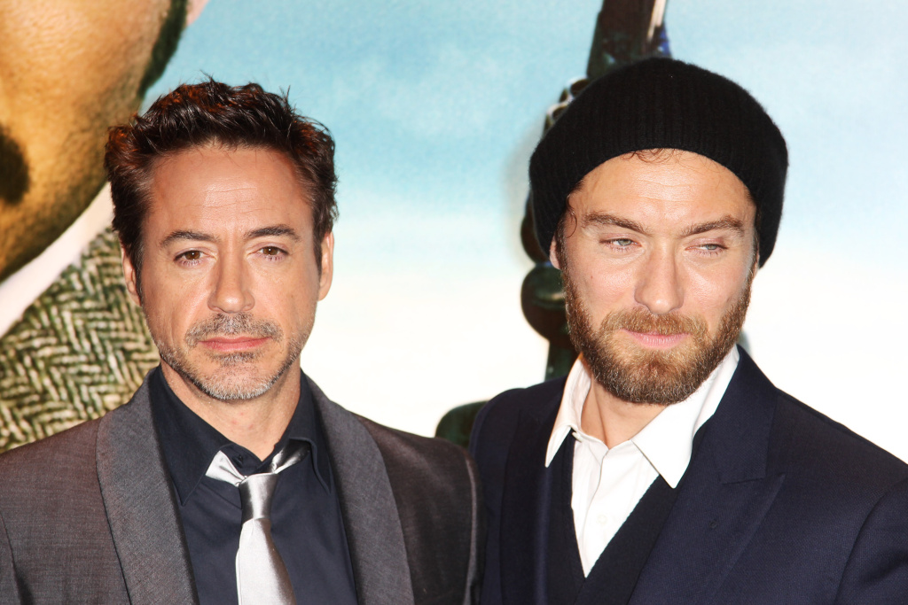 L-R Robert Downey, Jr. and Jude Law attend the European premiere of Sherlock Holmes: A Game Of Shadows at The Empire Leicester Square on December 8, 2011 in London, United Kingdom.