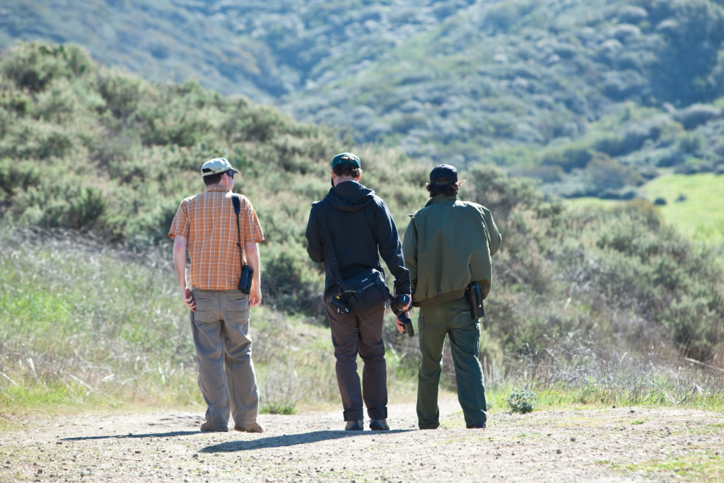 Biological Consultant Dan Cooper, environmental science student Evan Lashly and Park Ranger Anthony Bevilacqa begin their search for roadrunners in the Santa Monica Mountains National Recreation area.