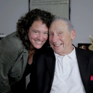 """Director Ferne Pearlstein and Mel Brooks in """"The Last Laugh."""""""