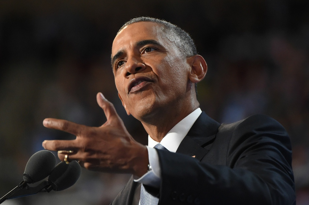 US President Barack Obama speaks during the third night of the Democratic National Convention at the Wells Fargo Center in Philadelphia, Pennsylvania.