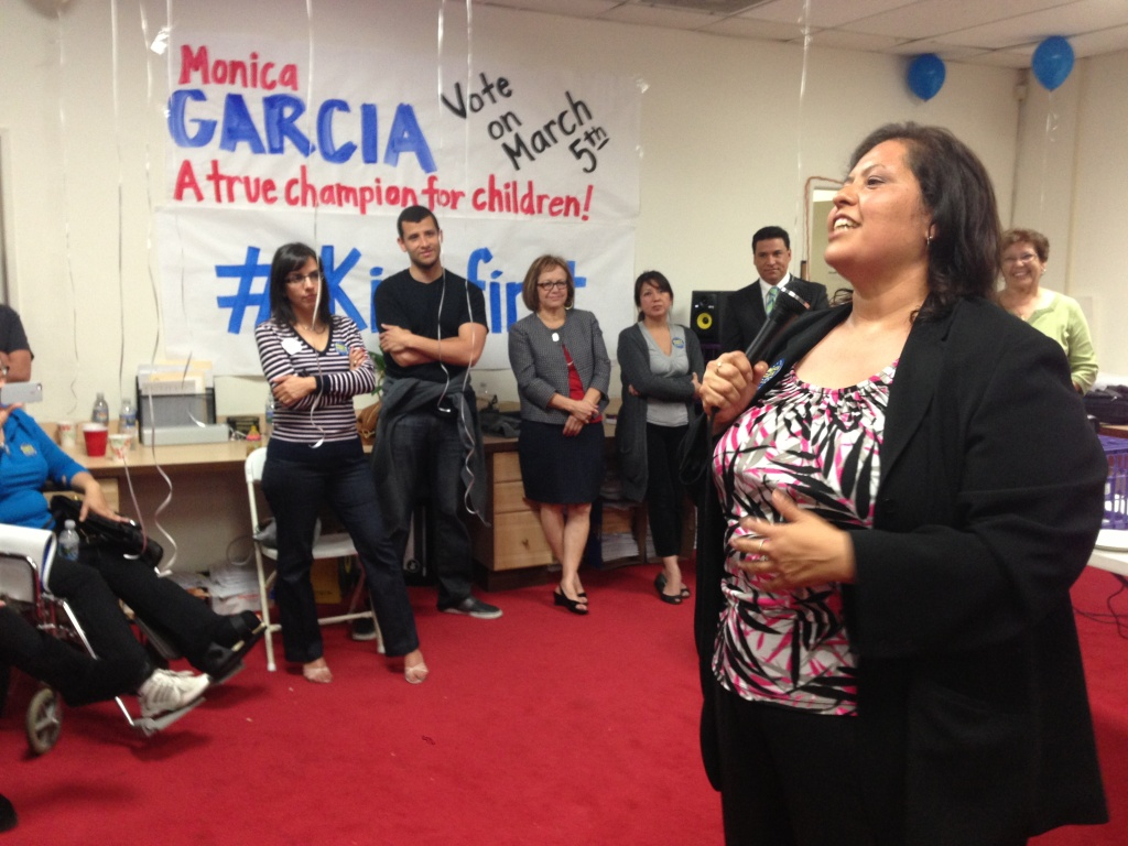 Board President Monica Garcia awaits election results with supporters at her Boyle Heights campaign headquarters on Tuesday night.