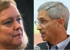 Republican California gubernatorial candidates Meg Whitman and Steve Poizner