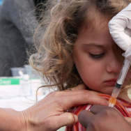 Hannah Rood, 3, receives an H1N1 vaccine at a clinic in San Pablo, California, during the 2009 swine flu epidemic.