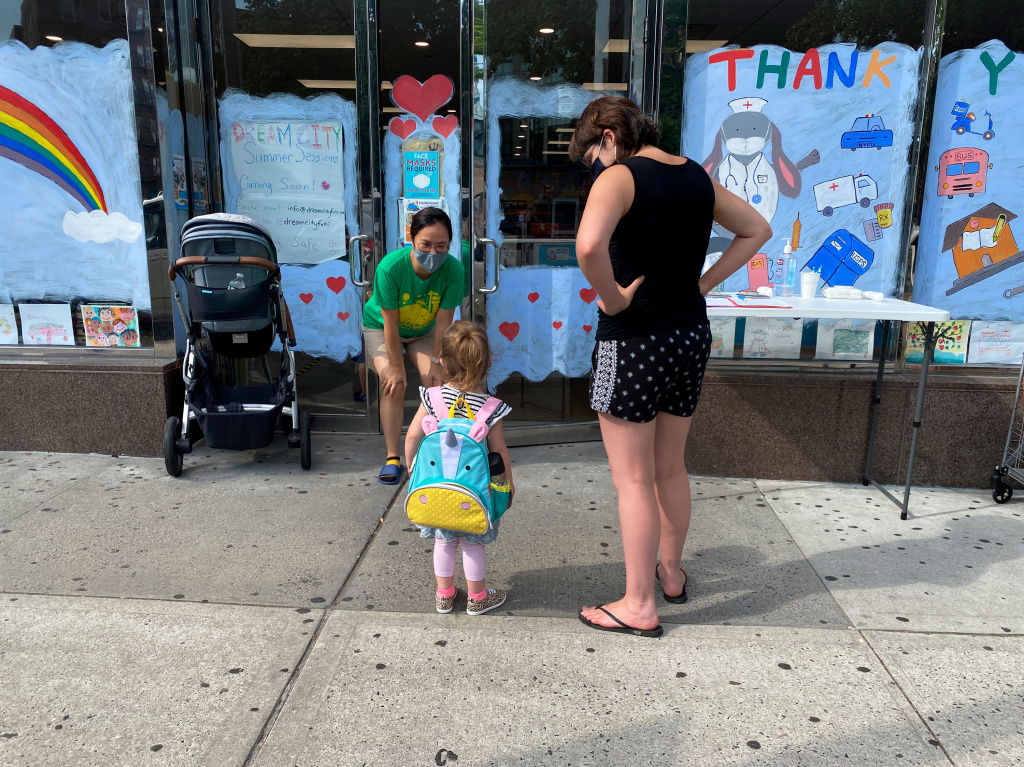 A late July daycare drop off in Queens, N.Y., during the community's