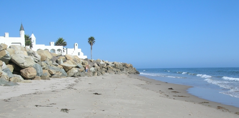 A rock wall in Carpinteria, California may prevent existing shoreline communities from adapting to sea level rise.