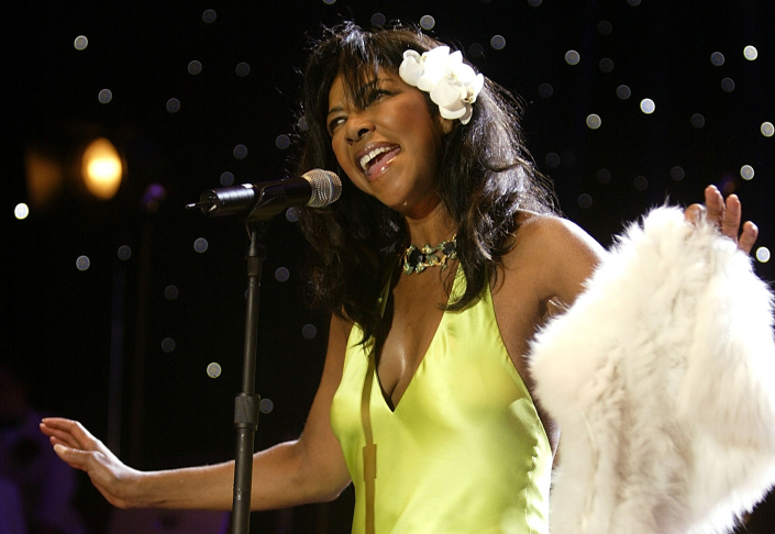 File: Natalie Cole performs on stage during the Closing Night Concert at the Palais de festival on the last night of the 57th Cannes Film Festival on May 22, 2004 in Cannes, France.