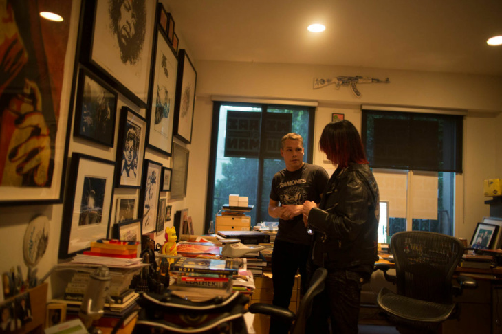 John Cafiero and Shepard Fairey in an office above the Subliminal Projects art gallery shortly before the opening of an exhibition of Dee Ramone's artwork.