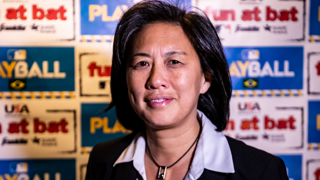 Kim Ng, seen earlier this year, will be the first woman to lead a Major League Baseball team, the Miami Marlins.