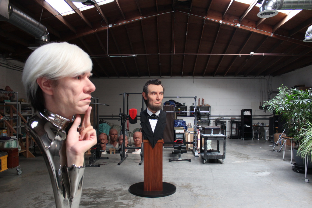 Kazuhiro Tsuji's hyperrealist sculptures of Andy Warhol and Abraham Lincoln.