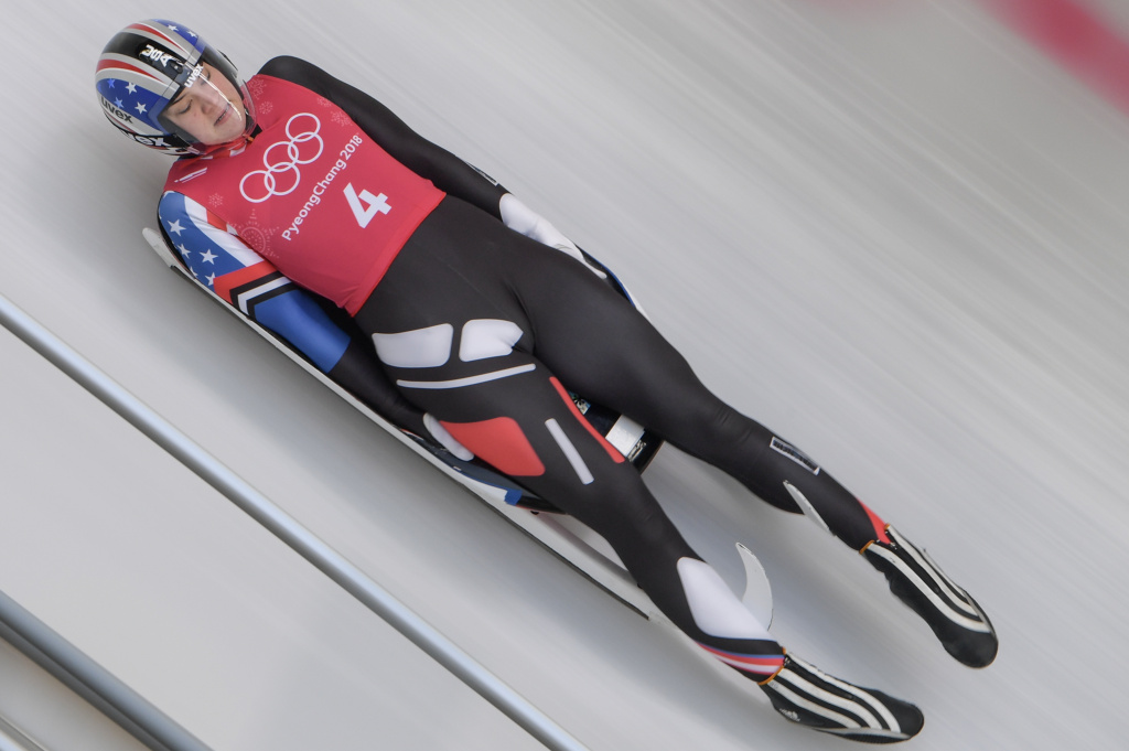 Summer Britcher of the US practices in the women's luge singles training session at the Olympic Sliding Centre during the Pyeongchang 2018 Winter Olympic Games in Pyeongchang on February 10, 2018. / AFP PHOTO / Mohd RASFAN        (Photo credit should read MOHD RASFAN/AFP/Getty Images)