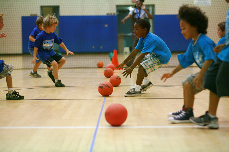 Kids playing dodgeball at the Eagle Rock Yacht Club