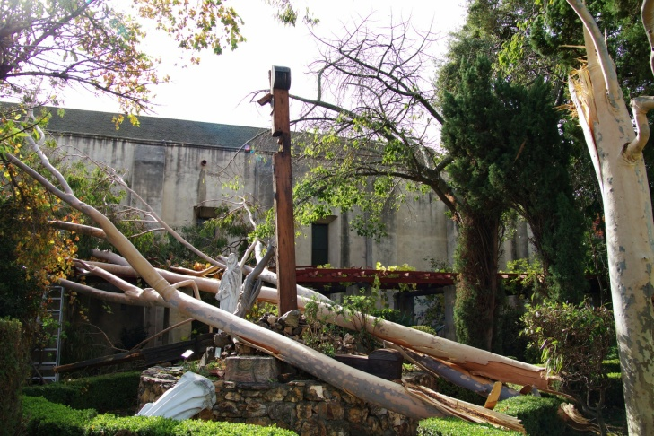 Santa Ana winds damage San Gabriel Mission monument
