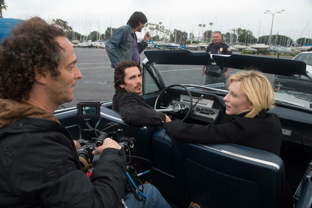 Christian Bale with Cate Blanchett and cinematographer Emmanuel Lubezki.