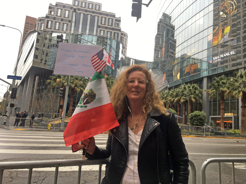 Leslie Gainer, an anti-Trump protester at a downtown Los Angeles protest on Tuesday, March 13, 2018.