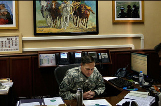 General David Petraeus in his office in Kabul.